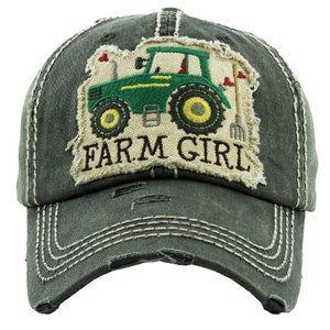 Farm Girl Black Distressed Adjustable Baseball Hat